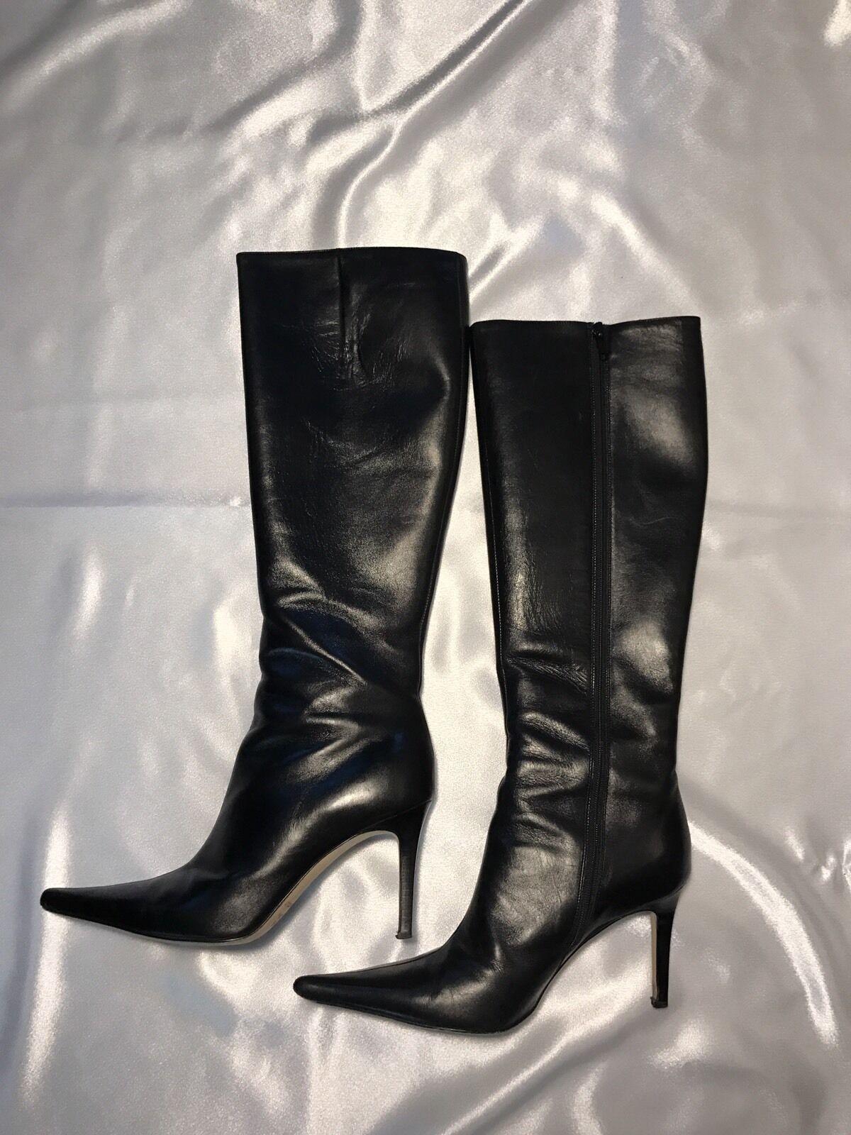 Anne Klein Boots Sz 7 Chicboot Slim Calf Winter Women Black 398 VGUC Made Italy