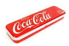 Coca Cola Coke Pen Lápices caso Con Bisagras Caja De Hojalata Rojo & Blanco Tapa Dura Metal 7078