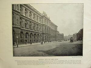 1896 Vittoriano Londra Stampa + Testo ~ Whitehall con La Casa Ufficio