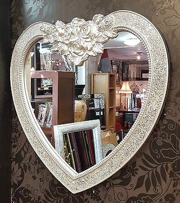 Heart Crackle Design Wall Mirror Bevelled Edge Silver Frame Mosaic Glass 87x85cm