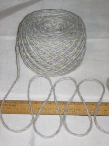 100g Blue Purple Yellow Marl 100/% Pure Wool British Breed Aran knitting EFW503
