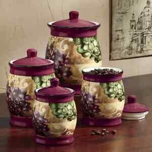 Details about Grape Vineyard 4 PC Glazed Ceramic Kitchen Canister Set. New.