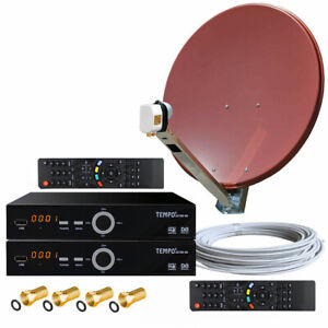 4-TV-Full-HDTV-Sat-Anlage-Gibertini-90cm-ALU-Spiegel-Schuessel-2x-HD-Sat-Receiver