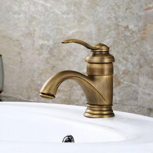 Bathroom Tub Basin Faucet Swivel Antique Bronze Retro Brass Single