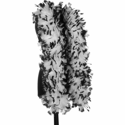 FEATHER BOA THICK LUXURY HIGH QUALITY BLACK  WHITE 85G GATSBY SCHOOL FLAPPER UK
