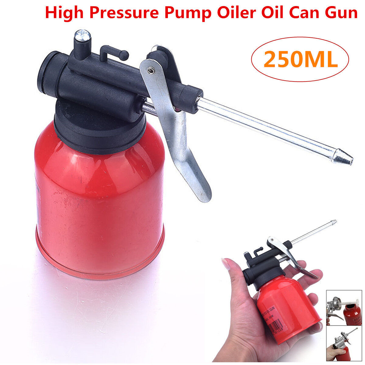 8.5 oz # Metal High Pressure Pump Oiler Oil Can Gun For Lubricants Red 250cc