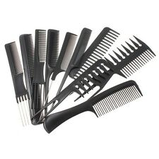 10 PEZZI Hair Styling pettine Serie Professional Nero Parrucchiere Brush Barbers
