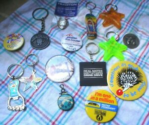 15-X-KEY-RINGS-BOTTLE-OPENERS-AND-BADGES-INCLUDING-JIM-BEAM
