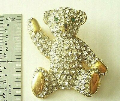 Cute Teddy Bear Face Diamante Crystal Brooch Silver metal Gift  *NEW*