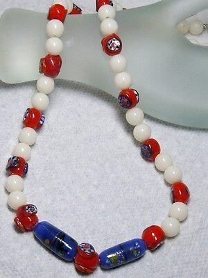 Lampwork Millefiori Halskette Venezianische Glaskunst Perlen Other Art