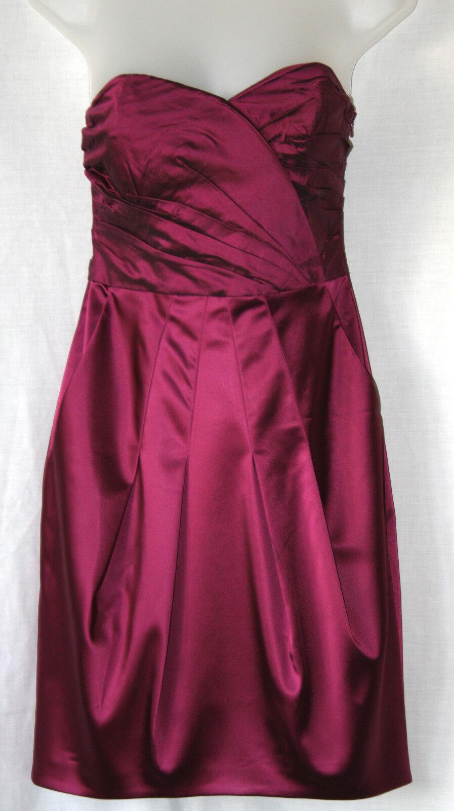 COAST (UK10   EU38) STRAPLESS METALLIC FUCHSIA SILK DRESS WITH BONED BODICE
