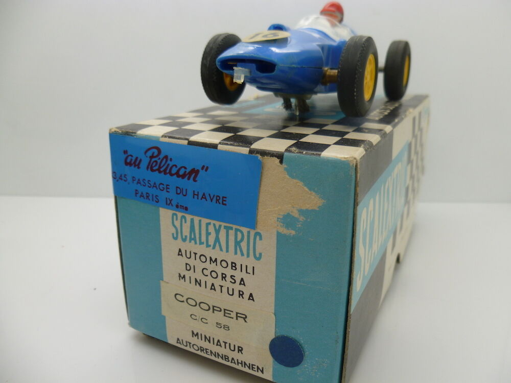 Scalextric C58 Cooper in light bluee French version, French box also, mint car