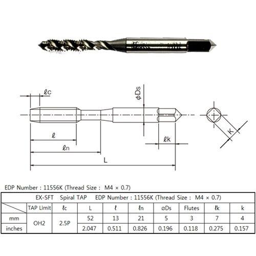 HSSE M4 x 0.7 OH2 SPIRAL FLUTE TAP OSG