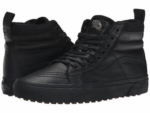 Vans SK8 HI MTE Mens Womens Black Leather Lace Up High Top ... d41c5e73d