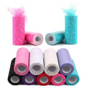 Sequin-Tulle-Roll-25Y-15cm-Spool-Sewing-Mesh-Fabric-DIY-Tutu-Wedding-Decoration