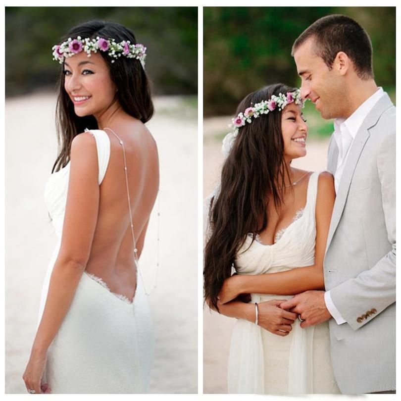 2019 Sexy Mermaid Backless Bridal Gown Beach Wedding Dresses 2 4 6 8 10 12 14 16