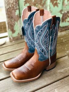 Ariat-Women-039-s-Primetime-Gingersnap-amp-Baby-Blues-Square-Toe-Boots-10025032