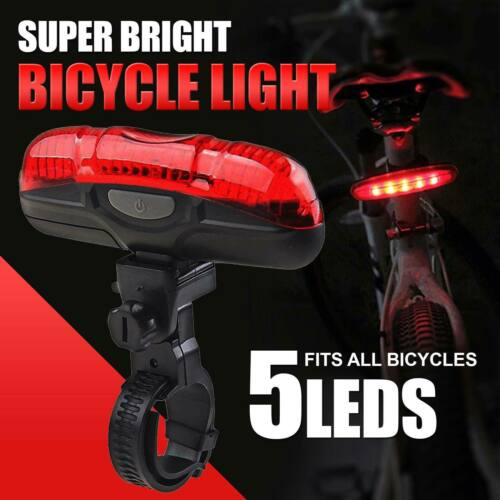 5 LED Bicycle Rear Back Waterproof Lights Red Beam Cycle Bike Tail With Battery