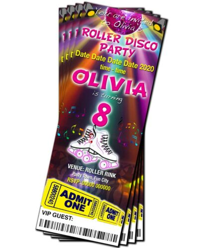 Red or Blue Ticket Style BIRTHDAY PARTY INVITATIONS Roller Skate Disco Pink