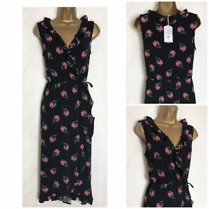 Oasis-Black-Floral-Stretch-Jersey-Wrap-Bodice-Dress-Sizes-XS-L-o-3s