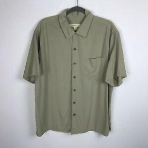 Joseph & Feiss Hawaiian Camp Shirt Size XL Beige Silk Short Sleeve Mens