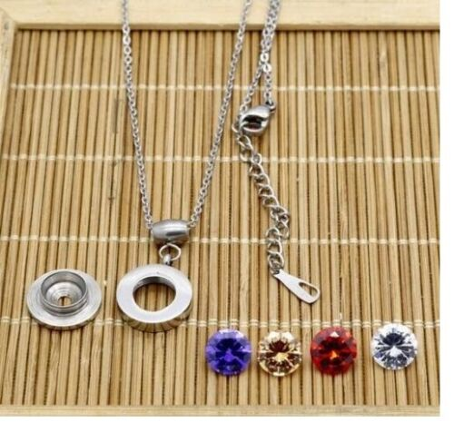 Silver Stainless Steel Round Interchangeable Zirconia Pendant Necklace Gift PE10