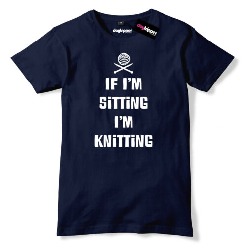 If I/'m Sitting I/'m Knitting Mens Premium T-Shirt Funny Slogan