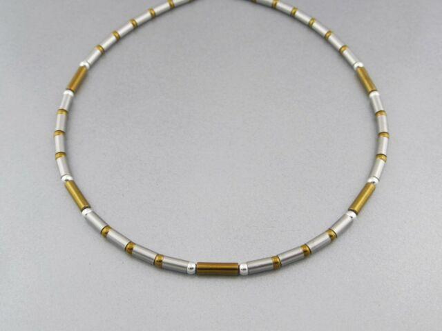 Neue Titanium Titan Halskette Schmuck Collier Damen echt Hämatit Rosegold Silber