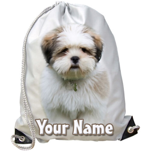 PE// DANCE BAG GIFT /& NAMED LHASA APSO DOG PUPPY PERSONALISED GYM SWIMMING