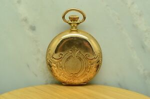 1900-WALTHAM-POCKETWATCH-15-JEWEL-SIZE-0-BEAUTIFUL-ETCHED-14K-GOLD-HUNTER-CASE