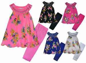 Girls-Floral-Set-Dress-Tunic-Top-and-Leggings-Set-New-Kids-Outfit-Age-2-12-Years