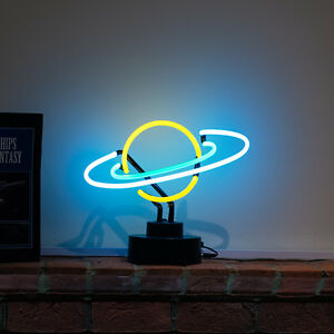 Beautiful Image Is Loading Real Neon Light Planet Space Solar System Desk