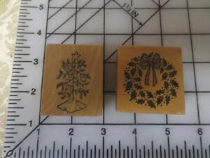2-PSX-Christmas-rubber-stamps-C-375-decorated-tree-e-356-Wreath-C375-E356
