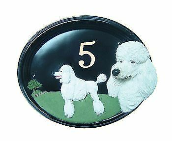 Poodle - Hand Painted House Sign   Plaque with Number
