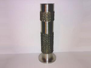 Vase-Grabvase-Edelstahl-V2A-Vintage-Mid-Century-ca-70s-H-26-5-cm-LOOK