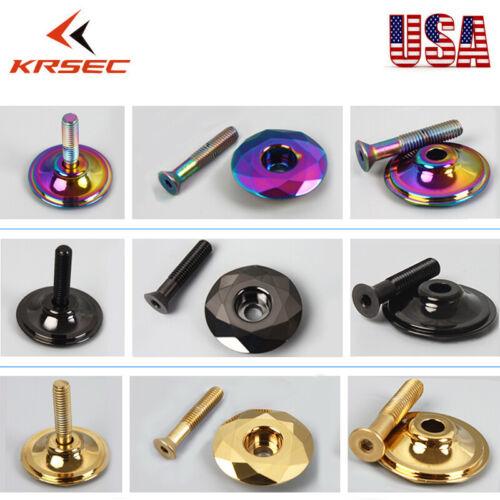 """KRSEC MTB//Road Bike Titanium Plated 32mm Bowl Cover+Bolt For 1-1//8/"""" Top Cap 1PC"""