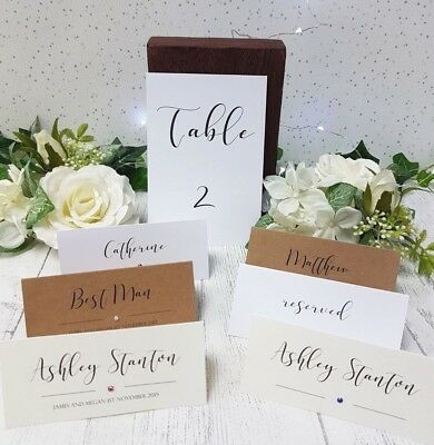 Wedding Name Cards.Personalised Wedding Name Place Cards Table Numbers Script Calligraphy Diamante Ebay