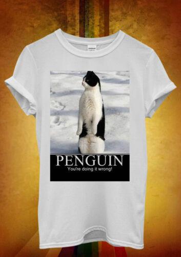Penguin Chat Meow vous avez tort Drôle Hommes Femmes Unisexe T shirt débardeur débardeur 367