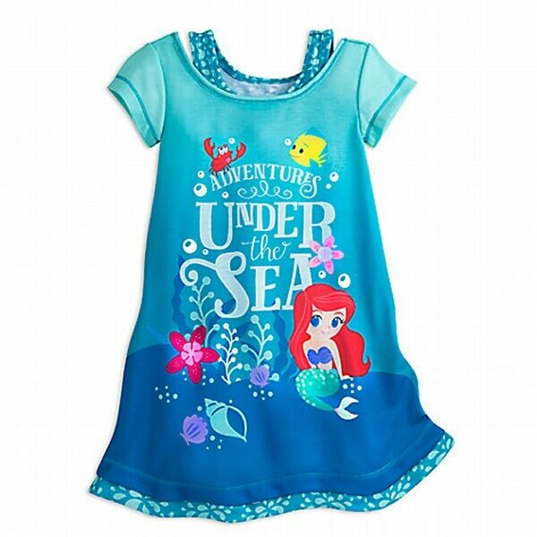 Girl Mermaid Ariel Nightshirt Child XS 4 Blue Disney Pajamas Nightgown PJs  for sale online  9fded89f7