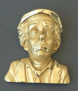 Vintage-large-clown-face-with-bow-pin-Brooch-gold-tone-metal