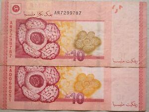 RM10 Zeti sign Note AR 7299787 (Darker Rafflesia)