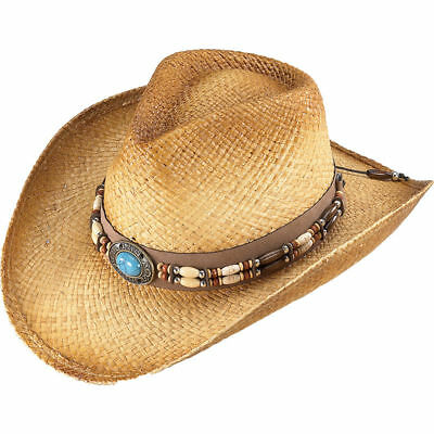 Henschel Straw Cowboy Hat - Western Turquoise Stone Beaded Band | eBay