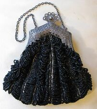 Antique Silver T Filigree Floral Frame Tan Crochet Knit Black Bead Puffy Purse