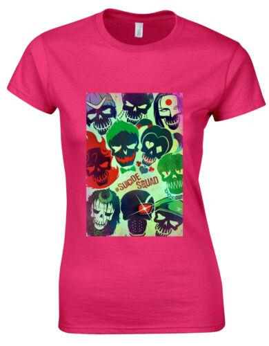 Suicide Squad Movie Cover Art Print Womans Cut Shirt Top AH62