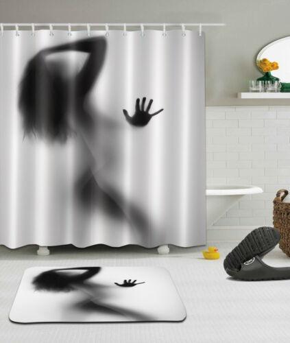 "72x72/""Beauty Shadow Bathroom Polyester Fabric Shower Curtain Mat Hook 2013"