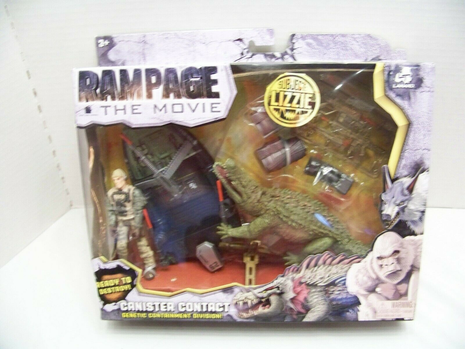 RAMPAGE THE MOVIE CANISTER CONTACT SUBJECT LIZZIE. LANARD giocattoli. nuovo.