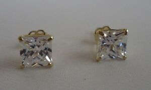 10K-SOLID-YELLOW-GOLD-STUD-EARRINGS-W-2-CT-PRINCESS-DIAMONDS-STUNNING-LOOK