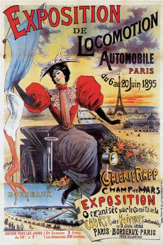 1895 PARIS AUTOMOBILE CAR EXPOSITION LOCOMOTION FRENCH VINTAGE POSTER REPRO