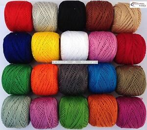 ANCHOR Pearl Cotton,10 White Balls Box.Size 8,85 Mtrs each