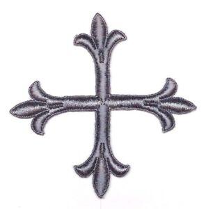 Vintage-Francese-Croce-Fleury-Ricamato-4-034-da-Cucire-Argento-Emblema-Toppa-2-Pcs
